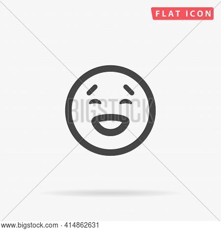 Laughing Face Flat Vector Icon. Hand Drawn Style Design Illustrations.