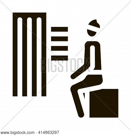 Homeless Sitting On Box In City Glyph Icon Vector. Homeless Sitting On Box In City Sign. Isolated Sy