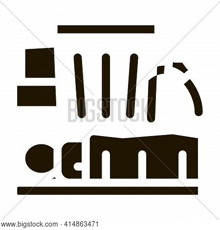 Homeless Sleeping Near Trash Can Glyph Icon Vector. Homeless Sleeping Near Trash Can Sign. Isolated