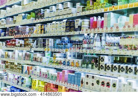 Cosmetics And Skincare Products Put Up For Sale In A Beauty Stor