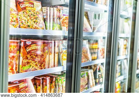 Poznan, Pol - Mar 17, 2021: Food Products Put Up For Sale In A Commercial Refrigerator