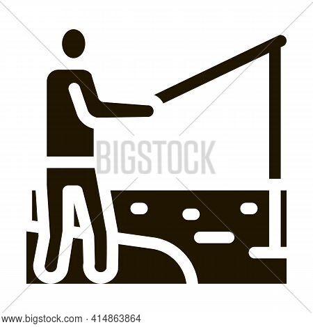 Fisherman Fishing Glyph Icon Vector. Fisherman Fishing Sign. Isolated Symbol Illustration