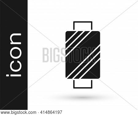 Black Sewing Thread On Spool Icon Isolated On White Background. Yarn Spool. Thread Bobbin. Vector