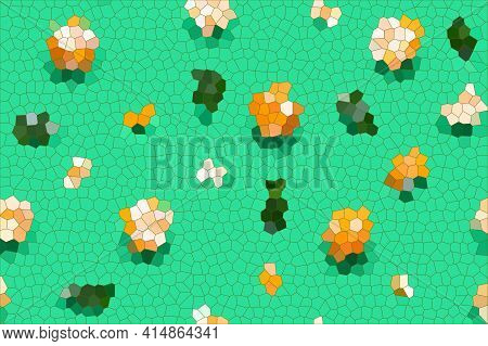 Abstract Art Mosaic Background, Orange Fruit And Green Leaves Texture