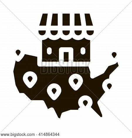 Franchise Country Location Glyph Icon Vector. Franchise Country Location Sign. Isolated Symbol Illus