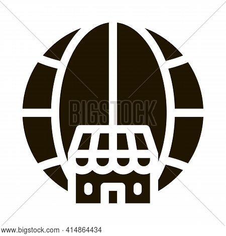 Worldwide Franchise Glyph Icon Vector. Worldwide Franchise Sign. Isolated Symbol Illustration