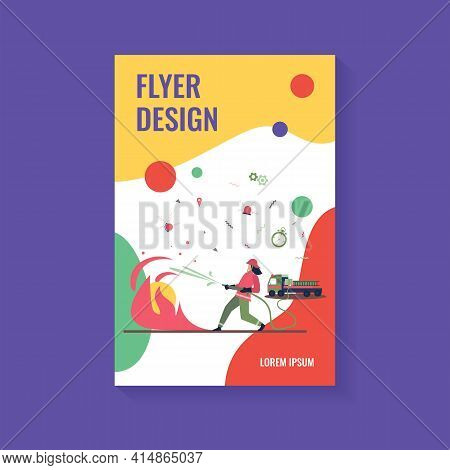 Brave Firefighters Wearing Uniform And Helmets Firefighting Isolated Flat Vector Illustration. Carto