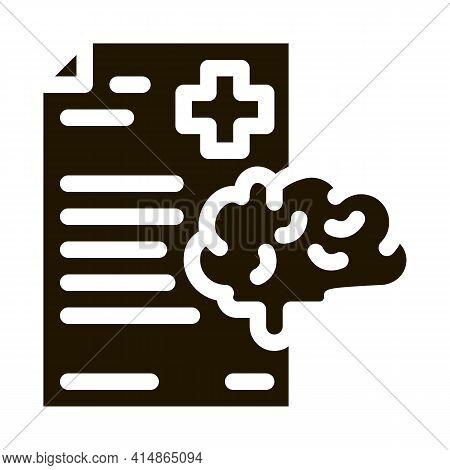 Dementia Medical Report Glyph Icon Vector. Dementia Medical Report Sign. Isolated Symbol Illustratio