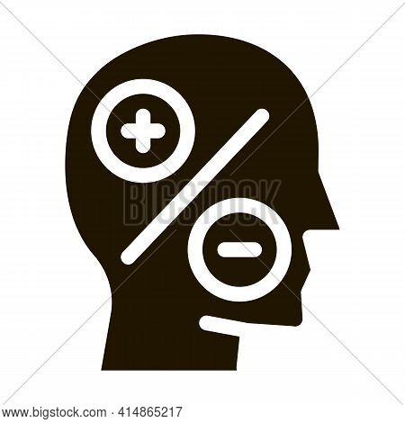 Human Head Plus Minus Glyph Icon Vector. Human Head Plus Minus Sign. Isolated Symbol Illustration