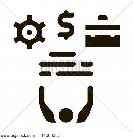 Business Case Money And Gear Glyph Icon Vector. Business Case Money And Gear Sign. Isolated Symbol I