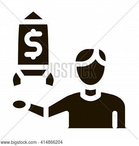 Human Show Money Rocket Glyph Icon Vector. Human Show Money Rocket Sign. Isolated Symbol Illustratio