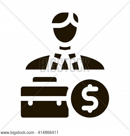 Businessman Case And Money Banknote Glyph Icon Vector. Businessman Case And Money Banknote Sign. Iso