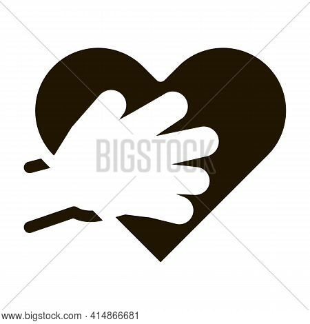 Touch Heart Glyph Icon Vector. Touch Heart Sign. Isolated Symbol Illustration