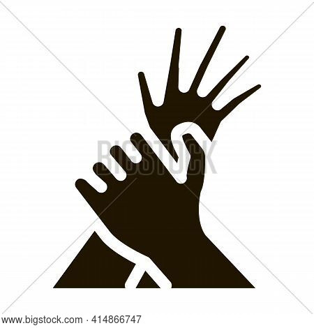Hand Hold Arm Stop Hit Glyph Icon Vector. Hand Hold Arm Stop Hit Sign. Isolated Symbol Illustration