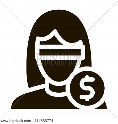Anonymous Woman Dollar Coin Glyph Icon Vector. Anonymous Woman Dollar Coin Sign. Isolated Symbol Ill