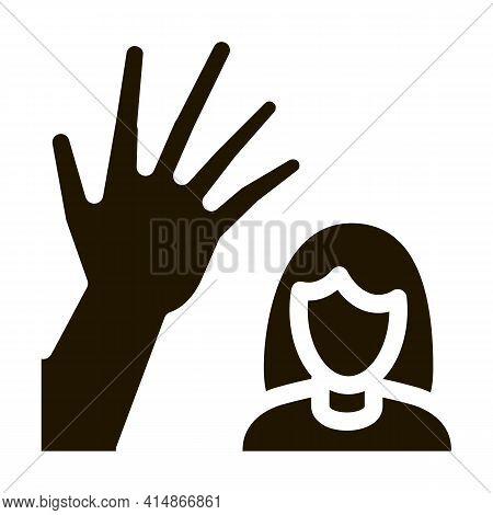 Woman Hitting Glyph Icon Vector. Woman Hitting Sign. Isolated Symbol Illustration