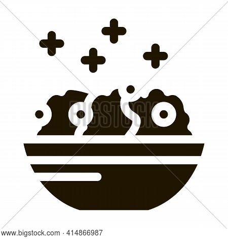 Porridge Dish Glyph Icon Vector. Porridge Dish Sign. Isolated Symbol Illustration