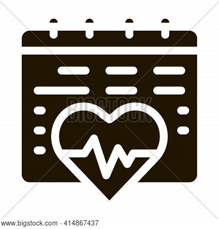 Heart Cardio Calendar Glyph Icon Vector. Heart Cardio Calendar Sign. Isolated Symbol Illustration