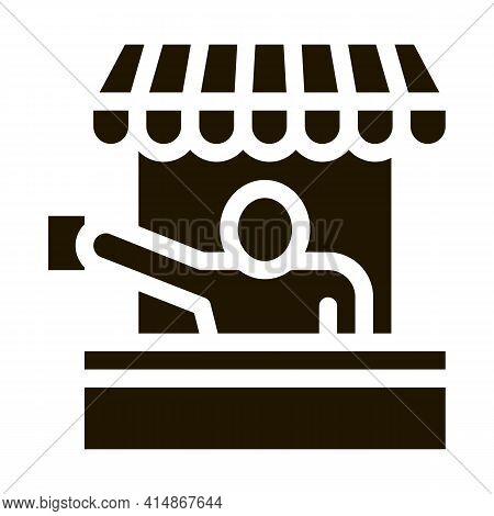 Street Food Seller Glyph Icon Vector. Street Food Seller Sign. Isolated Symbol Illustration
