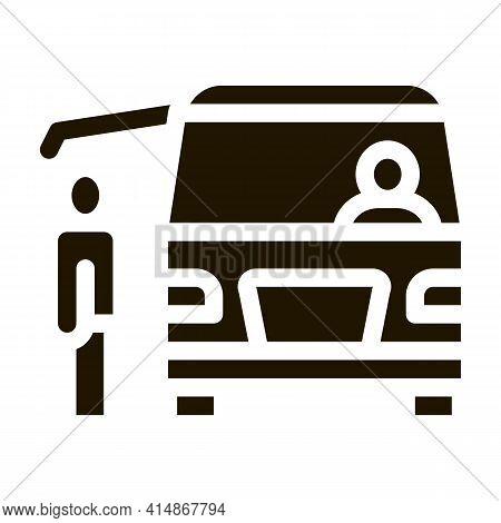 Fast Food Van Vehicle Glyph Icon Vector. Fast Food Van Vehicle Sign. Isolated Symbol Illustration