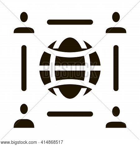 Worldwide Outsource Employees Glyph Icon Vector. Worldwide Outsource Employees Sign. Isolated Symbol