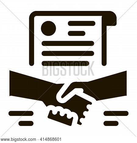 Agreement Contract Handshake Glyph Icon Vector. Agreement Contract Handshake Sign. Isolated Symbol I