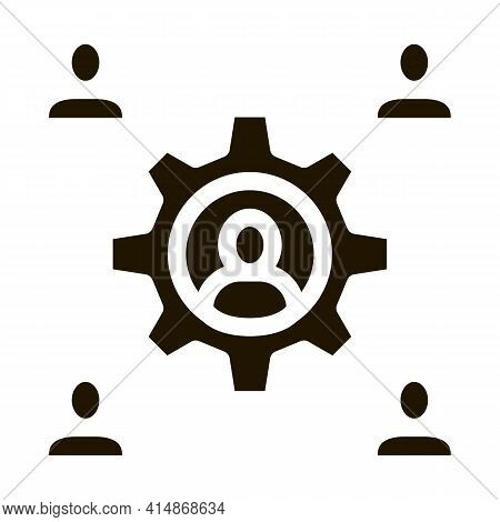 Working Outsource Emplayees Glyph Icon Vector. Working Outsource Emplayees Sign. Isolated Symbol Ill