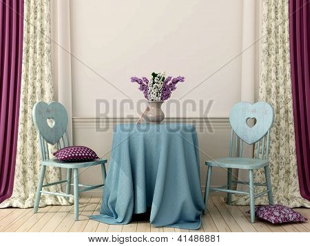 Table With Two Blue Chairs