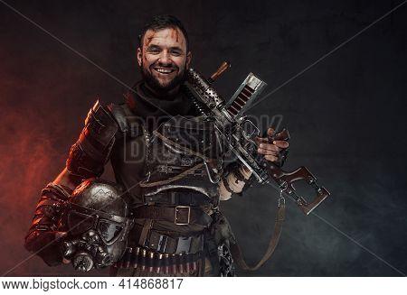Joyful And Happy Survivor Armed With Shotgun In Dark Background