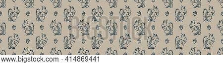Hand Carved Squirrel Block Print Seamless Border Pattern. Rustic Naive Folk Motif Illustration Banne