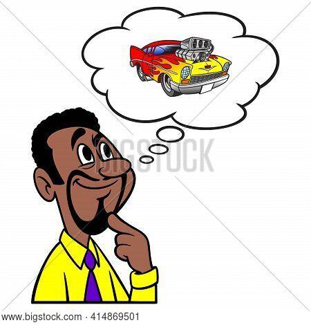 Man Thinking About A Car Show - A Cartoon Illustration Of A Man Thinking About A Car Show.