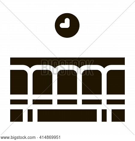 Railway Station Waiting Seats Glyph Icon Vector. Railway Station Waiting Seats Sign. Isolated Symbol