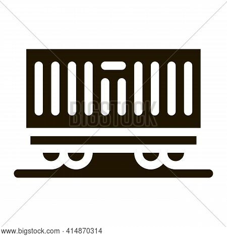 Carriage Container Transportation Glyph Icon Vector. Carriage Container Transportation Sign. Isolate