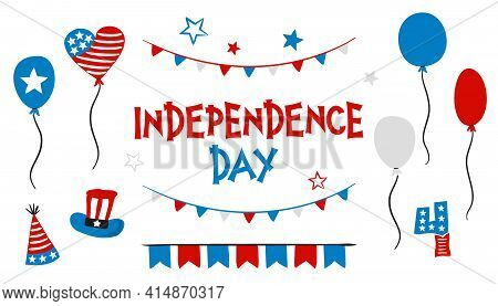 Set Of Hand Drawn Elements For Independence Day Of The United States Of America. Symbols Of The Usa