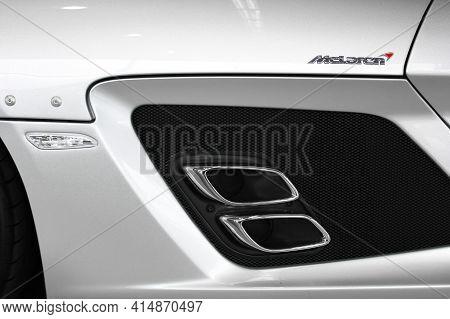 Kiev, Ukraine - August 21, 2011: Mercedes-benz Slr Mclaren Stirling Moss. Car Exhaust Pipes