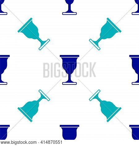 Blue Christian Chalice Icon Isolated Seamless Pattern On White Background. Christianity Icon. Happy