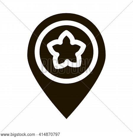 Flower Shop Location Gps Mark Glyph Icon Vector. Flower Shop Location Gps Mark Sign. Isolated Symbol