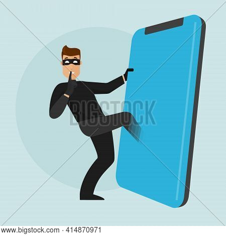 A Thief Gets Into The Phone. Stealing Data From The Phone.breaking The Security Wall On A Mobile Dev