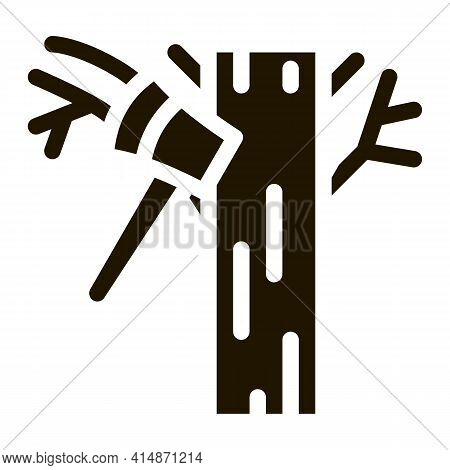 Tree Ax Glyph Icon Vector. Tree Ax Sign. Isolated Symbol Illustration