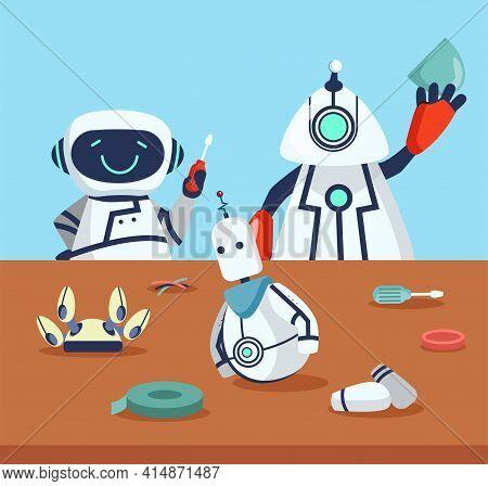 Cute Robots Creating Friend Cartoon Illustration. Happy Vector Electronic Cyborgs Making Robot On Ta