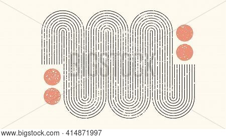 Abstract Aesthetic Boho Textured Background With Arch And Sun. Vector Wall Decor In Terracota Color.