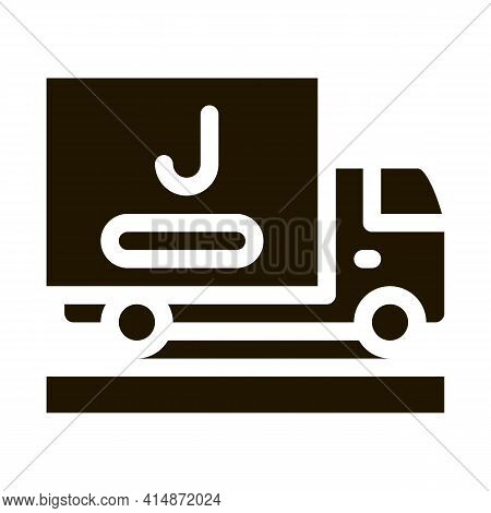 Juice Delivering Truck Glyph Icon Vector. Juice Delivering Truck Sign. Isolated Symbol Illustration