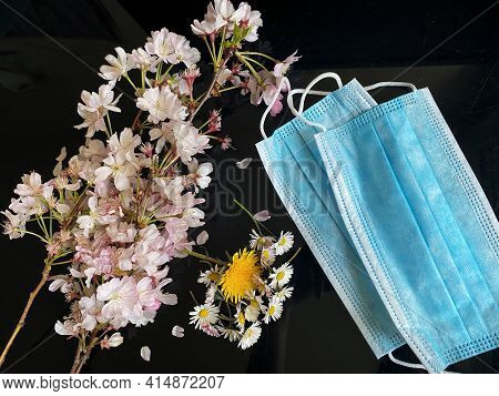 Peaceful Flowers On The Side Of Surgical Masks - Covid19 Coronavirus Concept - Condolence, Grievance