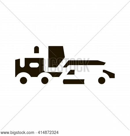 Road Repair Tractor Glyph Icon Vector. Road Repair Tractor Sign. Isolated Symbol Illustration