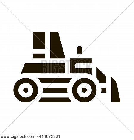 Road Repair Bulldozer Glyph Icon Vector. Road Repair Bulldozer Sign. Isolated Symbol Illustration