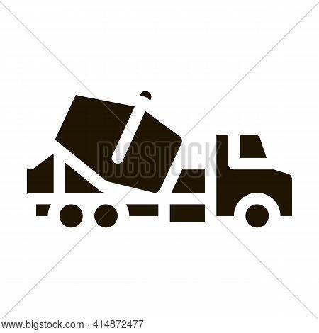 Concrete Mixer Truck Glyph Icon Vector. Concrete Mixer Truck Sign. Isolated Symbol Illustration