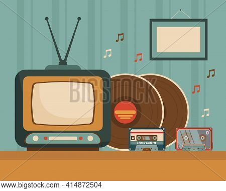 Vintage Tv, Cassettes, And Vinyl Records On Table Illustration. Old Retro Television, Ways Of Listen