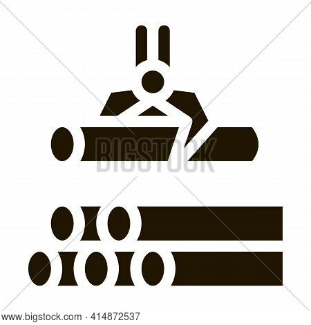 Loading Timber Wood Machine Glyph Icon Vector. Loading Timber Wood Machine Sign. Isolated Symbol Ill