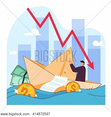 Metaphor Of Risk, Crisis, Loss And Bankruptcy In Business. Cartoon Vector Illustration. Tiny Man Sai