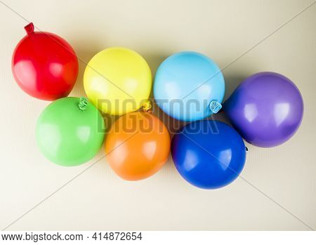 Small Multicolored Inflatable Balls In The Rainbow Palette, Art Concept, Holiday Content. Colorful B